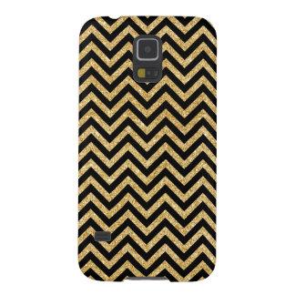 Carcasa Galaxy S5 El zigzag negro del brillo del oro raya el modelo