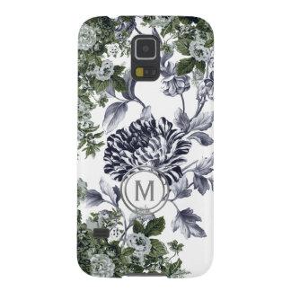 Carcasa Galaxy S5 Monograma floral blanco negro verde de la