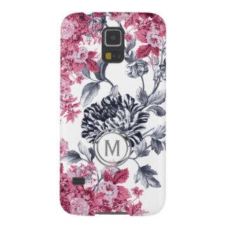 Carcasa Galaxy S5 Monograma floral negro y blanco rosado del jardín