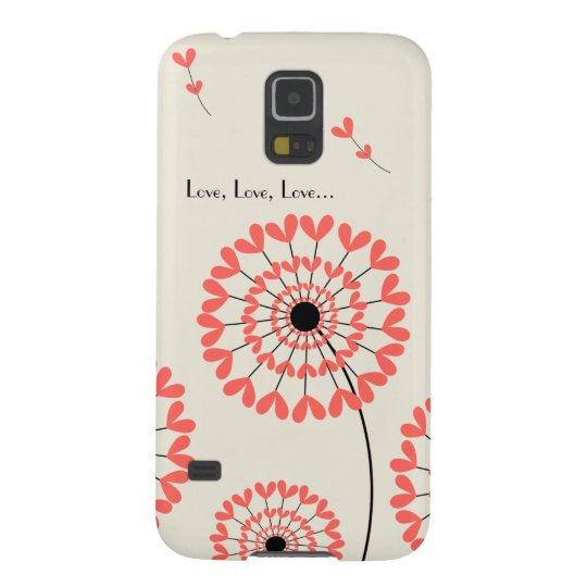 Carcasa Galaxy S5 Red dandelions with heart-shaped petals Samsung S5