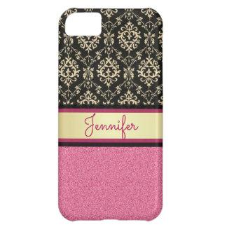 Carcasa iPhone 5C El brillo rosado, oro negro remolina nombre del