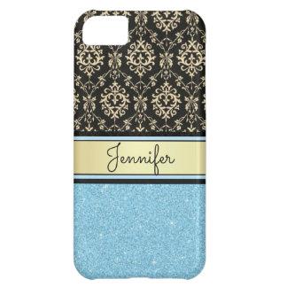 Carcasa iPhone 5C El purpurina azul claro, oro negro remolina nombre