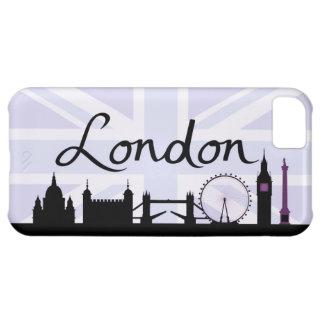 Carcasa iPhone 5C Escritura de Londres en el cielo de Union Jack y