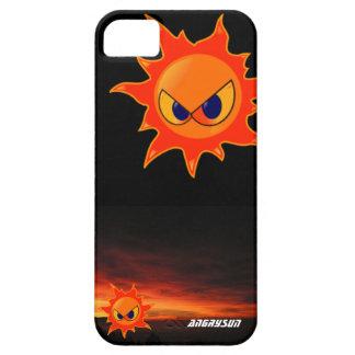 carcasa negra un sol furioso en un atardecer iPhone 5 carcasa