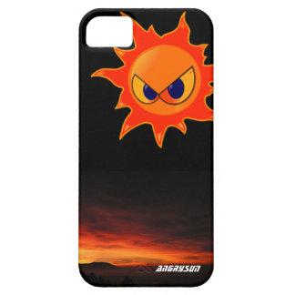 carcasa negra un sol furioso en un atardecer iPhone 5 carcasas