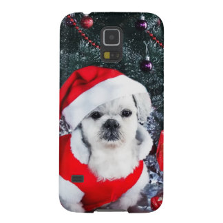 Carcasa Para Galasy S5 Caniche santa - perro del navidad - perro de Papá