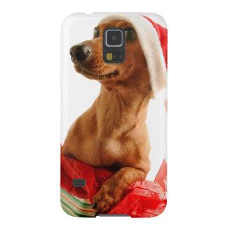 Carcasa Para Galasy S5 El Dachshund santa - el perro de santa - persiguen