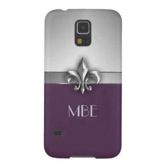 Carcasa Para Galasy S5 Flor de lis de plata púrpura del metal del