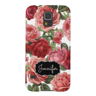 Carcasa Para Galasy S5 Nombre floral de los rosas rosados elegantes