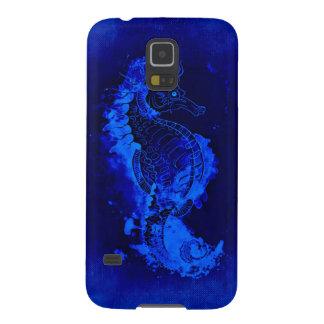 Carcasa Para Galasy S5 Pintura azul del Seahorse