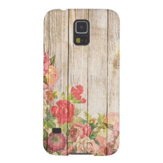 Carcasa Para Galasy S5 Rosas románticos rústicos del vintage de madera