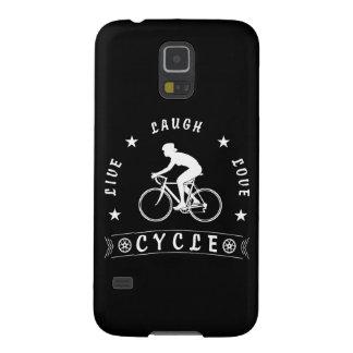 Carcasa Para Galasy S5 Texto de Live Laugh Love Cycle de señora (blanco)