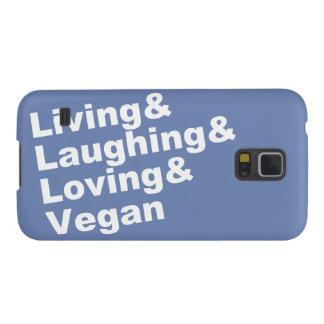 Carcasa Para Galasy S5 Vida y risa y amor y vegano (blancos)