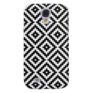 Carcasa Para Galaxy S4 Bloque azteca Ptn del símbolo negro y blanco I