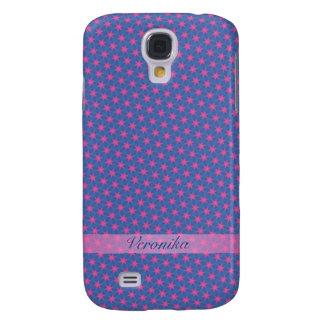 Carcasa Para Galaxy S4 Estrellas del rosa en un fondo azul