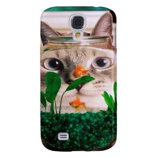 Carcasa Para Galaxy S4 Gato y pescados - gato - gatos divertidos - gato