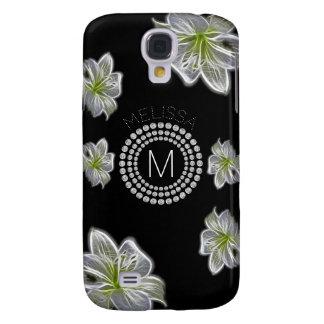 Carcasa Para Galaxy S4 Seis flores blancas con los diamantes y su nombre