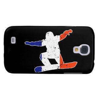 Carcasa Para Galaxy S4 SNOWBOARDER tricolor francés (blanco)