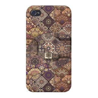 Carcasa Para iPhone 4/4S Remiendo del vintage con los elementos florales de