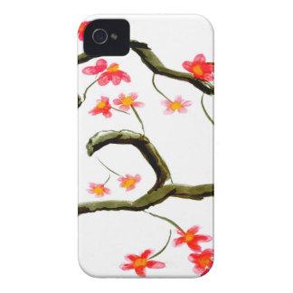 Carcasa Para iPhone 4 Acento rojo de las flores de cerezo