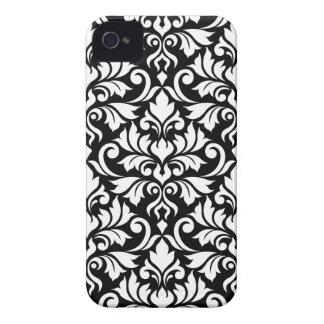 Carcasa Para iPhone 4 Blanco grande del modelo del damasco del Flourish