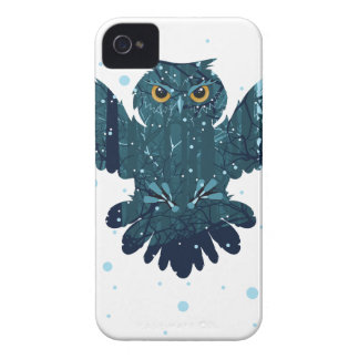 Carcasa Para iPhone 4 Bosque y búho del invierno Nevado