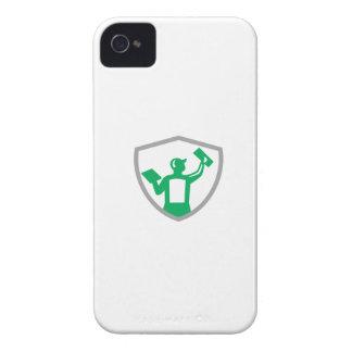 Carcasa Para iPhone 4 De Case-Mate Albañilería del yesero que lleva a cabo el escudo