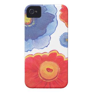 Carcasa Para iPhone 4 De Case-Mate Azul y papel pintado de Red_Floral