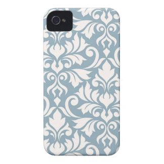 Carcasa Para iPhone 4 De Case-Mate Crema del arte I del damasco del Flourish en azul
