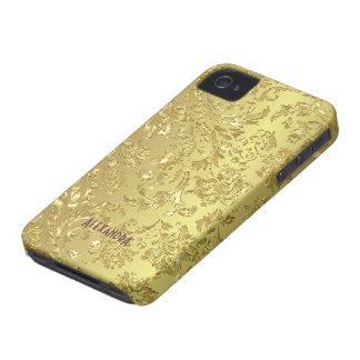 Carcasa Para iPhone 4 De Case-Mate Damascos florales del metal del oro amarillo