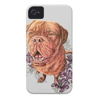 Carcasa Para iPhone 4 De Case-Mate Dibujo del arte y de los lirios del perro del