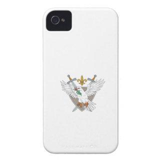 Carcasa Para iPhone 4 De Case-Mate Dibujo verde oliva del escudo de la flor de lis de