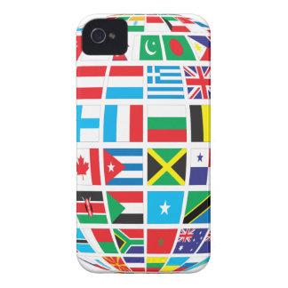 Carcasa Para iPhone 4 De Case-Mate El mundo señala el globo por medio de una bandera