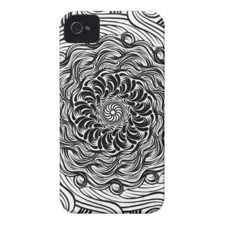 Carcasa Para iPhone 4 De Case-Mate Ilusión óptica del Doodle adornado del zen blanco