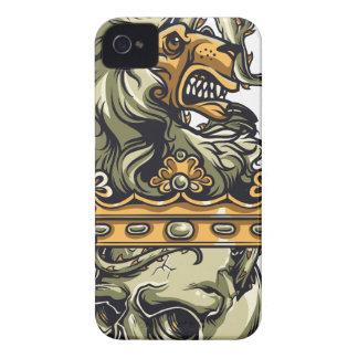 Carcasa Para iPhone 4 De Case-Mate león del vintage en el cráneo muerto
