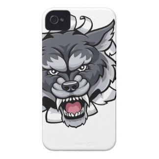 Carcasa Para iPhone 4 De Case-Mate Mascota de los bolos del lobo que rompe el fondo