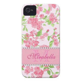 Carcasa Para iPhone 4 De Case-Mate Nombre de ramas rosado del flor de la acuarela de