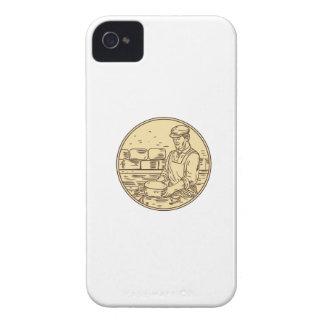Carcasa Para iPhone 4 De Case-Mate Quesero que hace el dibujo del círculo del queso