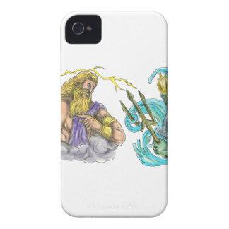 Carcasa Para iPhone 4 De Case-Mate Rayo de Zeus contra el tatuaje de Poseidon Trident