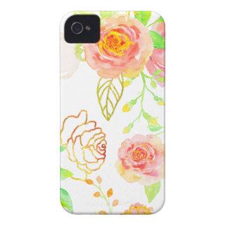 Carcasa Para iPhone 4 De Case-Mate Rosa de la acuarela y modelo subió oro
