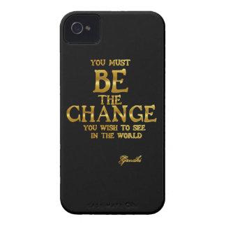 Carcasa Para iPhone 4 De Case-Mate Sea el cambio - cita inspirada de la acción de