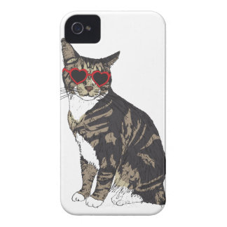 Carcasa Para iPhone 4 De Case-Mate Vidrios del corazón del gato que llevan