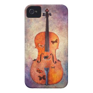 Carcasa Para iPhone 4 De Case-Mate Violoncelo mágico con las mariposas