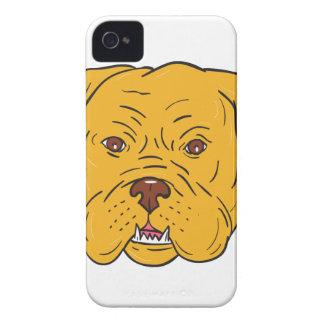 Carcasa Para iPhone 4 Dibujo animado de la cabeza de perro de Burdeos