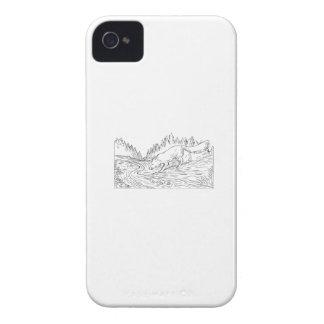 Carcasa Para iPhone 4 Dibujo blanco y negro de consumición de maderas