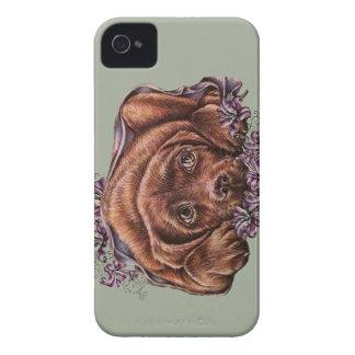 Carcasa Para iPhone 4 Dibujo del perro y de los lirios de Brown Labrador