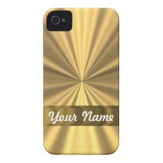 Carcasa Para iPhone 4 Mirada metálica del oro