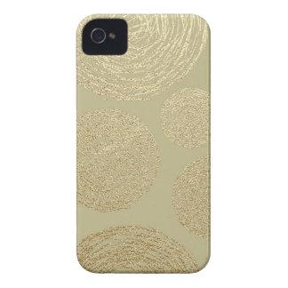 Carcasa Para iPhone 4 modernos, oro, lunares, metálico, elegante,