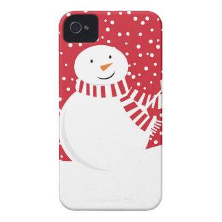 Carcasa Para iPhone 4 muñeco de nieve rojo y blanco contemporáneo