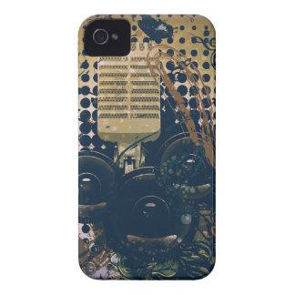 Carcasa Para iPhone 4 Música Microphone2 del vintage